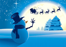 Snowman Waving at Santa - 3D Motion Lenticular Postcard Greeting Card- Christmas