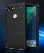 For Google Pixel 2 XL Carbon Fibre Gel Case Cover & Glass Screen Protector