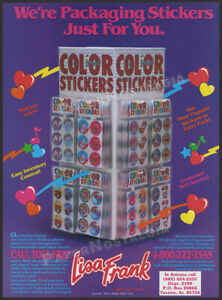 LISA FRANK Stickers__Original 1984 Trade print AD / ADVERT__retailer promo / ad