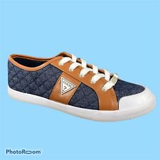 Guess Fashion Sneakers Shoes Blue Quited Fabric Textile Leather Trim Womens 10 M