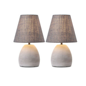 2X Bedside Table Light Industrial Concrete Desk Lamp Fabric Lampshade E14 Grey