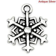 20 ANTIQUE SILVER CHRISTMAS SNOWFLAKE CHARM~18x14mm~Cards~Wine Glass Charm (X36)