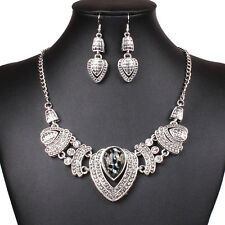 Fashion Tibet silver Heart Pendant Chunky Bib Statement Necklace Earrings Set