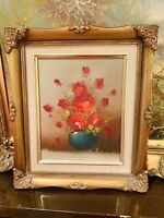ORIGINAL OIL ON CANVASS PAINTING STILL LIFE RED FLOWERS GILT GOLD FRAME SIGNED