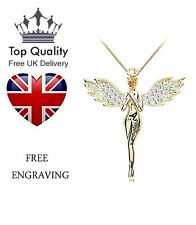 Womens Ladies Guardian Angel Crystals Pendant Necklace Gold Plated Gift Mum UK
