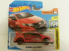 2018 Hot Wheels 16 Honda Civic Type R RED Diecast Car Speed Graphics 2/10