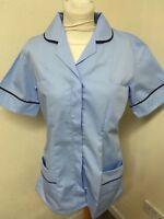 Pale Blue Navy Trim Tunics Nurse , Vets , Care Assistant , Beauticians
