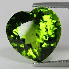 "7.20Cts Natural Specious Green Color Peridot Heart Shape Loose Gemstone VDO"""
