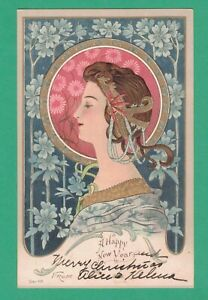 SCARCE 1903 ART NOUVEAU NEW YEAR POSTCARD BEAUTIFUL LADY FLOWERS