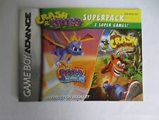 Game Boy Advance Crash Bandicoot & Spyro Instruction Booklet Manual Only