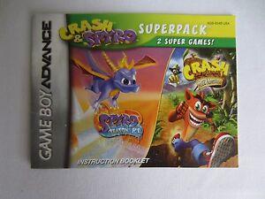 Game Boy Advance Crash Bandicoot & Spyro Instruction Booklet MANUAL ONLY