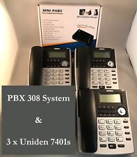 HOME SMALL OFFICE PBX 308 TELEPHONE SYSTEM AND 3 X BT Phones New