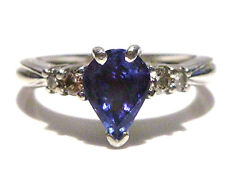 ESTATE LEVIAN 950 PLATINUM .66CT TANZANITE & DIAMOND WOMENS RING SIZE 6.75