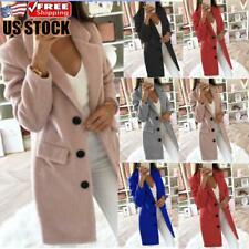 Women Winter Warm Woolen Lapel Long Coat Blazer Suit Trench Parka Jacket Outwear