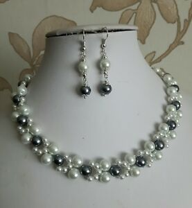 """white and grey pearl bead necklace set 16"""" tbar fastening womens earrings glass"""