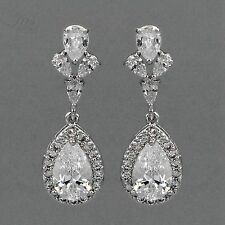 18K White Gold Plated Cubic Zirconia CZ Wedding Bridal Drop Dangle Earrings 0616