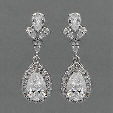 18K White Gold Plated Cubic Zirconia CZ Wedding Bridal Drop Dangle Earrings 0616