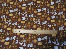 2 Yards Brown Farm Animal/Cow/Horse/Pig/Sheep/Chicken/Duck Flannel Fabric