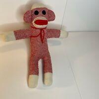Sock Monkey Size 16 x18.5 Inch Red White Plush Stuffed Toy