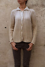 ICEBERG LADIES JUMPER 80s Beige Knitted Buttoned Cardigan Top Casuals Italy 42 M