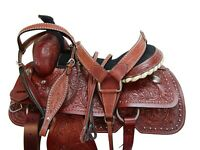 WESTERN ROPING DEEP SEAT SADDLE 17 16 PLEASURE HORSE FLORAL TOOLED ROPER TACK