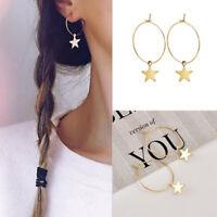 Women Boho Fashion Simple Large Circle Star Hoop Earrings Vintage Party Jewelry