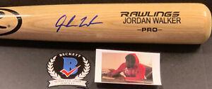 Jordan Walker St Louis Cardinals Signed Engraved Bat Beckett Witness COA Blonde