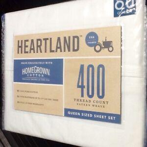 Brand New WHITE Heartland 400 Thread Count 100% Cotton Sateen QUEEN Sheet Set