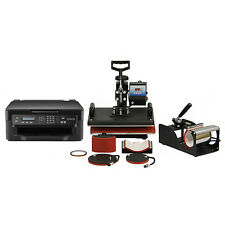 Heat Press 5in1 Combo T-Shirt Mug Cap Plate Sublimation Transfer Printer Package