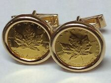CANADA MAPLE LEAF 14K YELLOW GOLD COIN CUFFLINKS