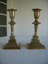 PAIR 2 VINTAGE CANDLE STICKS  MATCHING CANDLE HOLDERS  MALM * HAND MADE * BRASS