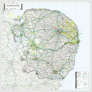 NORFOLK & SUFFOLK COUNTY WALL MAP - NEW MAP 2021