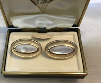 Vintage Swank Cuff Links In Mother Of Pearl, Orginal Box