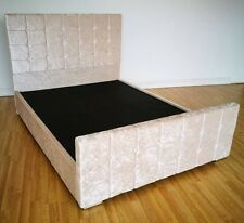 Cuba 4ft6 Double Cream Crush Velvet Bed Frame with Buttoned Headboard