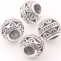 10/20Pcs Tibetan Silver Spacer Beads Big Whole Loose Round Charms 10MM Making