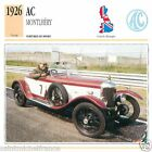 AC MONTLHERY 1926 CAR VOITURE Great Britain GRANDE BRETAGNE CARTE CARD FICHE