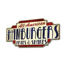 "Vintage Style Metal Sign Retro 28"" x 15"" All American Hamburgers Fries & Shakes"