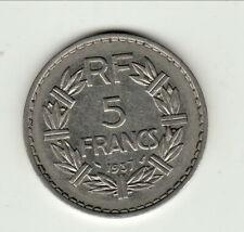 RARE 5 FRANCS NICKEL 1937