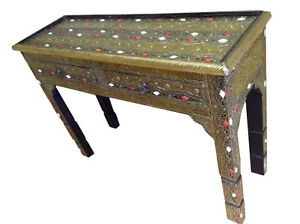 Moroccan Console Table Camel Bone & Golden Silver Carved Etched Metal Furniture