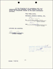 RONALD REAGAN - CONTRACT SIGNED 10/26/1949