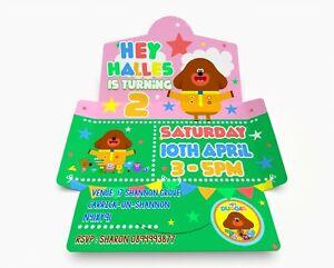 Hey Personalised Birthday Invitations. Invite & Envelope in one PK 10 Bri Pink