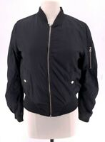 BB Dakota Womens Bomber Jacket Black Zip Up Pockets Lined Coat S