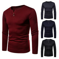 USA Thermal Men Slim Fit V Neck Long Sleeve Muscle Tee T-Shirt Casual Top Blouse
