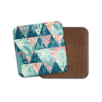 Tropical Abstract Pattern Coaster - Geometric Triangles Palm Trees Gift #12830
