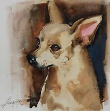 Acuarela * watercolor * Perro Chiguagua  * Pintura original
