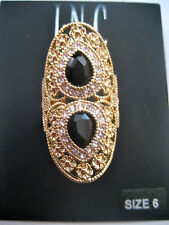 INC Gold Oval Cocktail Ring 2 Black Solitaire Pave Crystals Flowers Macy's New