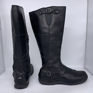 The North Face Black Leather Tall Zip Moto Boots Women Size 8.5 US