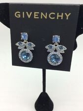 $48 Givenchy Silver Tone Blue Crystal Earrings 1B