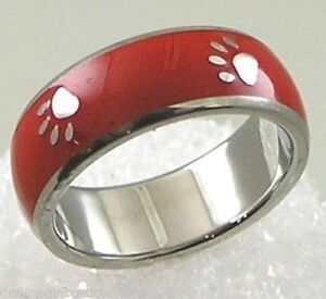 Red Paw Print Ring Stainless Steel Enamel Silver Dog Cat  SZ 6-9