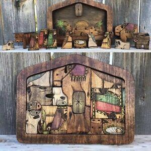 Wooden Christmas Nativity Jesus Puzzle Set Ornament Display Gift Set